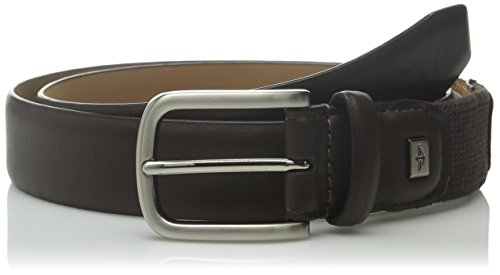 Dockers Men's 32mm Feather Edge Belt with Stretch Feature, Brown, 36 (Brown Feather Edge)