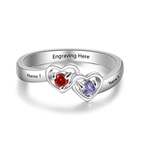 Luolajewelry Personalized 2 Simulated Birthstone 2 Names Heart Rings for Women Engagement Promise Cubic Zirconia Ring (7)