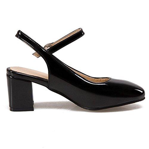 TAOFFEN Mujer Moda Correa de Tobillo Hebilla Fiesta Vestido Sandalias Tacon Ancho Medio Zapatos Negro