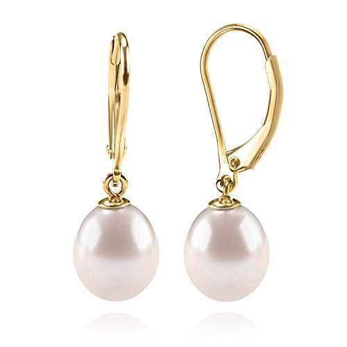 PAVOI 14K Yellow Gold Plated Freshwater Cultured Pearl Earrings Leverback Dangle Studs - Handpicked AAA Quality 9mm