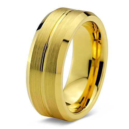 Tungsten Wedding Band Ring 8mm for Men Women Comfort Fit 18K Yellow Gold Plated Beveled Edge Brushed Polished Size 4.5 (Yellow Gold Plated Edge)