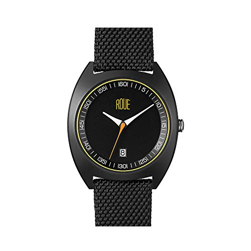 ROUE Cal Three Men's Watch, 1930s Racing Style, 41.5mm Sand Blasted Stainless Steel Black PVD case, Silicone + Nylon Front/Leather Back, Sapphire Crystal with Anti-Reflective Treatment Glass