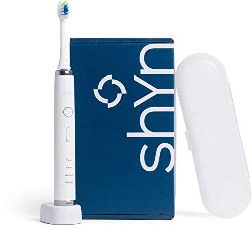 The Shyn Daily Sonic Toothbrush, a Rechargeable Electric Toothbrush with Pressure Sensor, Plus Brush Head, Charger, and Travel Case (White) (Best Manual Toothbrush 2019)