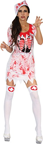 Ladies Fancy Dress Scary Horror Halloween Costume Party Bloody Nurse Club Outfit -