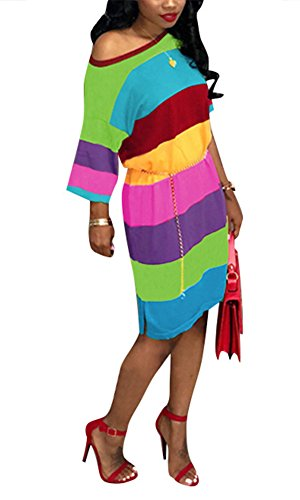 Women One Shoulder Batwing Half Sleeve Casual Loose T-Shirt Midi Dress Rainbow Stripe Rose Red L