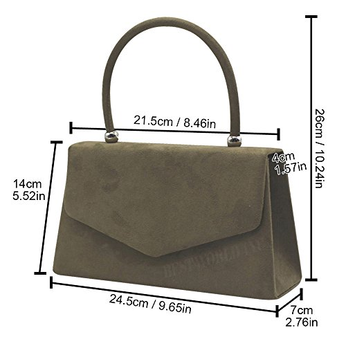 Clutch Bag New Fashion Celeb Khaki Suede Handle Womens Velvet Colors Shoulder Girly Handbags CYXAYwq