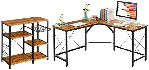 Mr IRONSTONE 59″ L Shaped Desk and 3-Tier 3-Tier Kitchen Baker's Rack Vintage