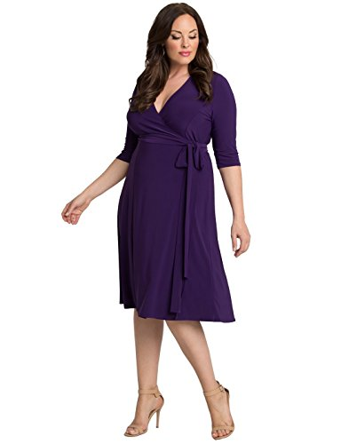 Kiyonna Women's Plus Size Essential Wrap Dress 2X Amethyst