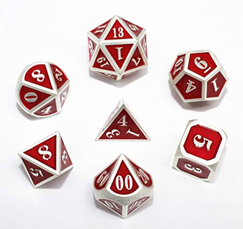 HD DND Metal Dice Set Red Mini RPG Dice for Dungeons and Dragons(D&D) Pathfinder MTG Tabletop Role Playing Game Polyhedral Metal Silver Border Enamel Dice Group