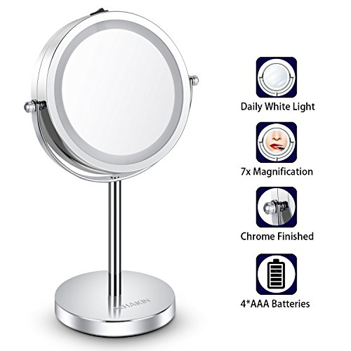 Lighted Makeup Mirror - 6'' LED Vanity Mirror 7x Magnification Double Sided Mirror Cosmetic Table Mirror Polished Chrome ALHAKIN by AlHAKIN