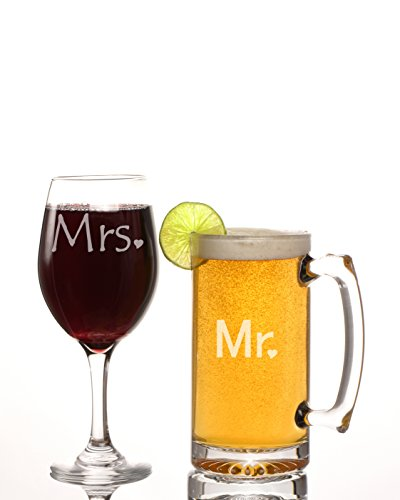 Ruby Umbrella Mr and Mrs 27 Oz Beer and 20 Oz Wine Glass Gift Set, great gift for weddings, engagements and all (Mr And Mrs Glasses)