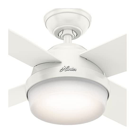 "Hunter Dempsey Indoor / Outdoor Ceiling Fan with LED Light and Remote Control, 52"", White 7 MODERN CEILING FAN: The contemporary Dempsey fan comes with LED light covered by cased white glass that will keep home interior and exterior current and inspired; Measures 52 x 52 x 13.63 Inch MULTI-SPEED REVERSIBLE FAN MOTOR: Whisper Wind motor delivers ultra-powerful airflow with quiet performance; Change the direction from downdraft mode during the summer to updraft mode during the winter LED LIGHT KIT: Energy-efficient dimmable LED light bulbs let you control the lighting and ambiance of the living space; The long lasting bulbs have longer lifespan than traditional bulbs"