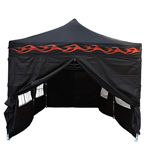 DELTA Canopies 10'x20' Ez Pop up Canopy Party Tent Instant Gazebos 100% Waterproof Top with 6 Removable Sides Black Flame - E Model