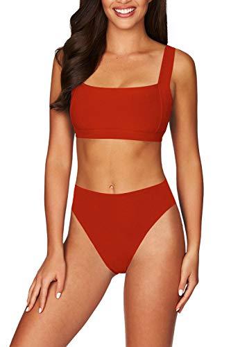 Viottiset Women's Square Neck Wide Straps Padding High Waist Ribbed Bikini Swimwear XL Red
