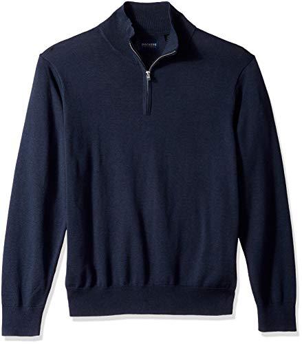 Dockers Men's Long Sleeve Quarter Zip Sweater, Navy Heather, Large