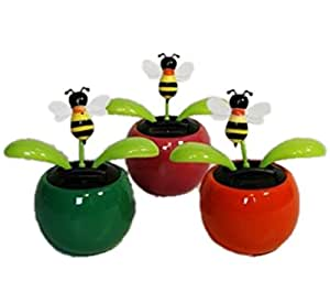 HAAC–Juego de 4Solar Motivo Flores Flores Diseño de abejas