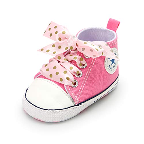 ENERCAKE Baby Boys Girls Canvas Shoes Basic Sneakers Lace Up Infant Newborn First Walker Prewalker Shoes(0-18 Months) (12-18 Months M US Toddler, I-Pink & Pink lace)