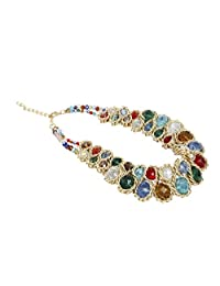ShoppeWatch Ladies Chunky Choker Statement Necklace Gold Tone Translucent Crystals Collares de Mujer