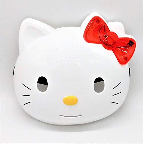 Premium Hello Kitty Face Mask / Her Red Bow Lights Up in Blue and Red! (Batteries Included) -