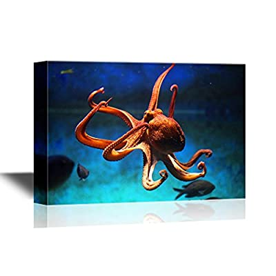 an Octopus Swimming Under The Ocean - Canvas Art