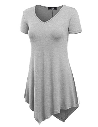 Made By Johnny Mbj Wt638 Womens V Neck Asymmetrical Tunic Top M Heather Grey