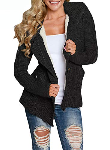 Asvivid Womens Winter Warm Button Down Cable Knit Cardigans Fleece Hooded Zipper Sweater Coats with Pockets S Black
