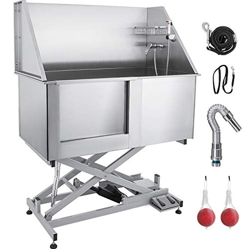 Mophorn 50' Electric Pet Dog Grooming Tub Stainless Steel X-Style Electric Lift Height Dog Bath Tub...
