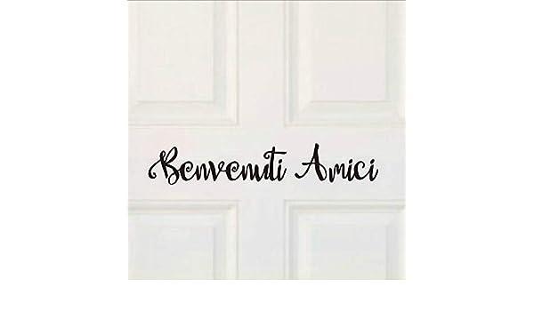 Apliques Benvenuti Amici Letras de Vinilo Italiano Etiqueta de La Pared Etiqueta Bienvenido Amigos Italian Home Front Door Restaurante Ventana Arte Decoración xcm: Amazon.es: Bebé
