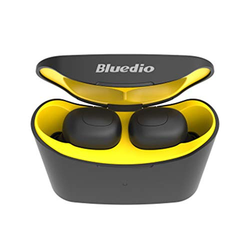 MChoice❤️Bluedio T-elf Mini Air pod Bluetooth 5.0 Sports Headset Earphones Headphones Wireless Earphone with Charging Box (Yellow)