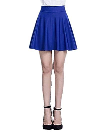 724b9b8913f6 Mullsan Women Fashion Jersey Knit Flared A-Line Mini Skater Circle Skirt w/  Safety