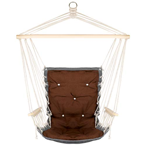 Hanging Rope Hammock Chair with Wooden Handrail, Large Hammock Porch Swing Seat, Cotton Rope Porch Chair for Indoor, Outdoor, Garden, Patio, Porch, Yard (Hammock Wooden Swing)