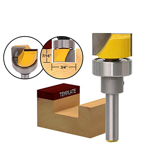 - HOHXEN Flush Trim Hinge Mortising Router Bit with 3/4-Inch W X 7/16-Inch H 1/4-Inch Shank