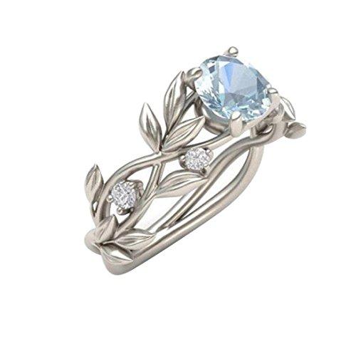 14k Gold Wedding Hoop Band (Women's Silver Floral Transparent Diamond Flower Vine Leaf Rings Wedding Gift (11))