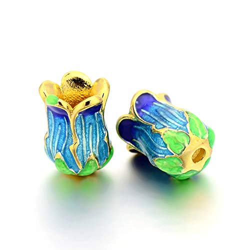 - Craftdady 25Pcs 5-Petal Rack Plated Enamel Flower Spacer Bead Caps 14x10mm Lead Free & Cadmium Free Metal Bead Cone End Caps Terminators for DIY Jewelry Making