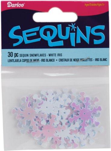 Darice 1002617 Snowflake Sequins, 1-Inch, White Iridescent, 30-Pack ()