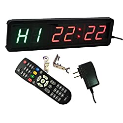Ledgital 1.8 Gym Timer for Fitness Training LED Programmable Interval Timer with Real Time Clock Countdown & up and Stopwatch Function