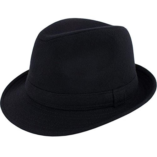 ALL IN ONE CART Mens Classic Manhattan Structured Gangster Trilby Fedora Hat Short Brim Panama Hat,Black,One Size -