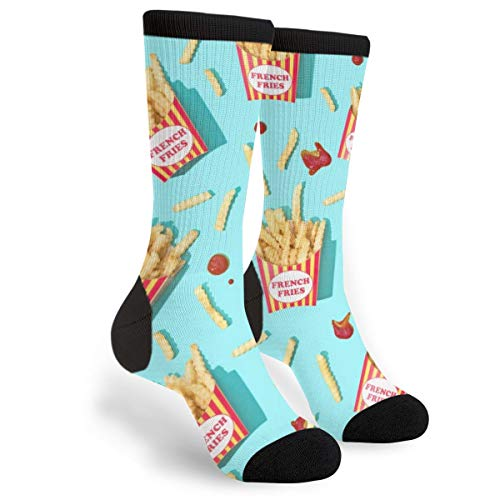 French Fries Tomato Sauce Blue Men's And Women's For Running Flying Traveling Mid Calf Knee Crew Socks Clothing Costume Dress -