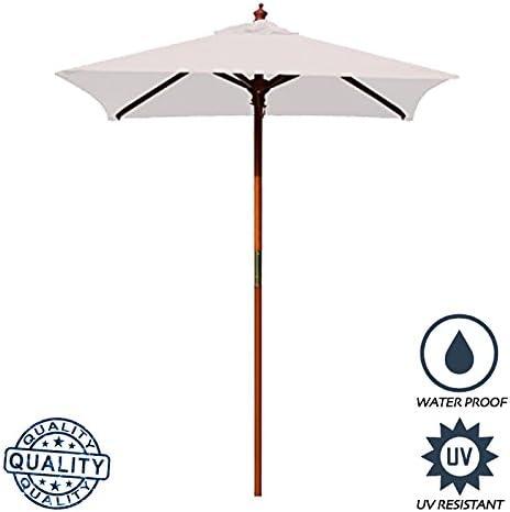 Above All Advertising, Inc. AAA Best 4 Feet Brolliz Square Wood Market Umbrella – Outdoor Garden Patio Umbrella White
