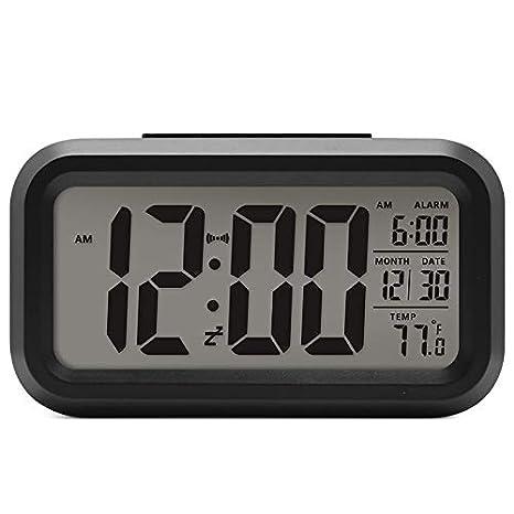 Lanker Despertador De Viaje - Reloj Digital con Pantalla LCD Grande, Luz De Fondo Azul, Calendario, Repetición Y Pantalla De Temperatura - AC06 Blanco: ...