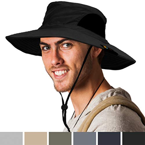 SUN CUBE Premium Boonie Hat | Wide Brim Adjustable Chin Strap | Outdoor Fishing, Hiking, Safari, Summer Bucket Hat | UPF 50+ Sun Protection | Packable Breathable Men, Women Mesh Hat (Black) - Large Bucket Brim