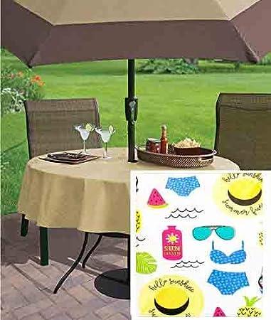 60 Round Summer Sunshine BBQ on Blue Vinyl Flannel Back Tablecloth Elrene Home Fashions