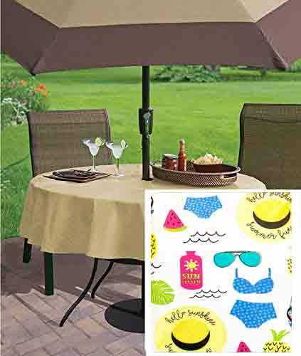 Newbridge Beach Whimsy Vinyl Flannel Backed Tablecloth - Whimsical Beach, Flip Flops, Flamingo, Summer Theme Indoor/Outdoor BBQ and Picnic Tablecloth - 70