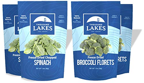 Thousand Lakes Freeze Dried Fruit and Vegetable Snacks - Broccoli Florets & Spinach 4-pack (Vegetable Fruit Snacks)