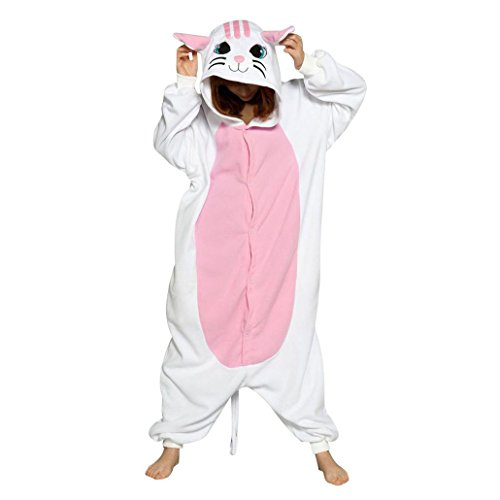 Super Cute Cat Costume (KSJK Unisex Adult Super Cute Animal Cat Cosplay Costume Onepiece Dress)