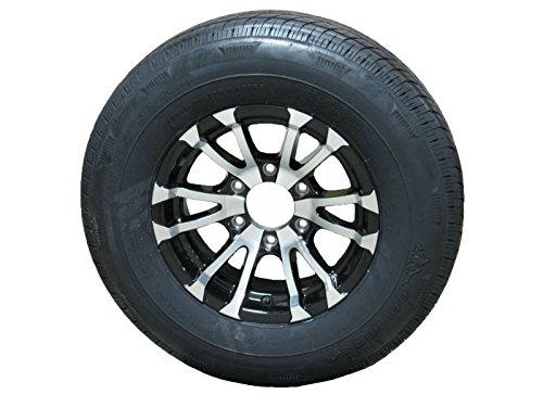 Trailer Tire ST225/75D15 Load Range D 6 Lug Black Avalanche Aluminum Rim Wheel eCustomRim