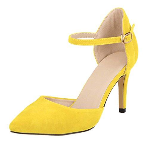 HooH Women's Flannel D-orsay Ankle Strap Wedding Dress Sdandal Yellow 8RVLOxuHPD