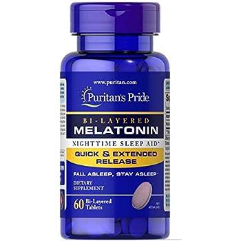 Puritans Pride Bi-Layered Melatonin 5 mg -60 Tablets