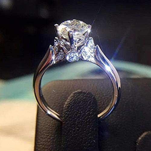 Waldenn Round Cut 1ct Unique AAA Cz Claw Ring 925 Silver Womens Engagement Jewelry Band | Model RNG - 25986 | 8
