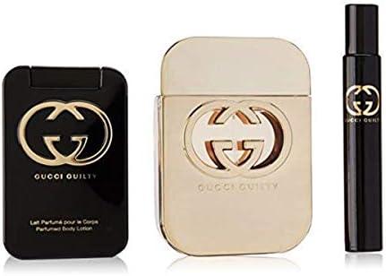 Gucci Guilty by Gucci for Women 3Piece Set Includes 2.5 oz Eau de Toilette Spray 3.3 oz Perfumed Body Lotion 0.25 oz Eau de Toilette Fragrance Pen Spray